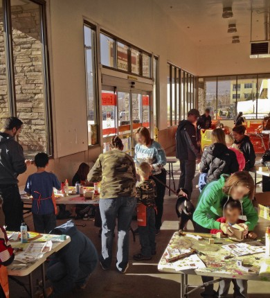 The Home Depot Kids Workshops: Attendees (blurred faces to protect identities), 2014 Copyright Will Hull, Windy Pinwheel